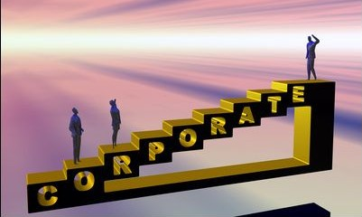 the corporate ladder. promotion