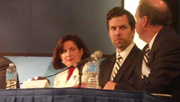 Philadelphia judge Hon. Annette Rizzo and the CFPB's Scott Pluta listen to David Schultz