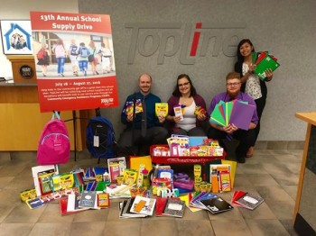 TopLine Employees and Members Donate Nearly 1,100 School Supply Items