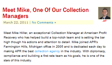 American Profit Recovery does a great job at highlighting their employees as a resource to prospects and clients.