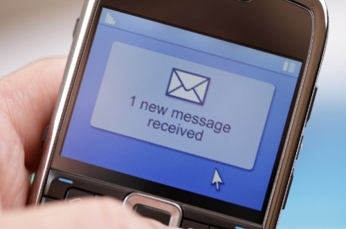 Mobile phone text message or e-mail