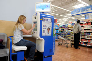 The SoloHealth Station gives consumers free and convenient access to health care by allowing them to screen their vision, blood pressure, weight, and body mass index (BMI) -- or any combination of the four--in seven minutes or less for free according to the manufacturer (Photo by Jack Gruber/USA Today).