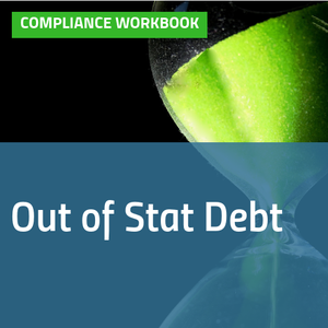 Cover of Out of Stat Debt compliance workbook with image of hourglass [Image by creator  from ]