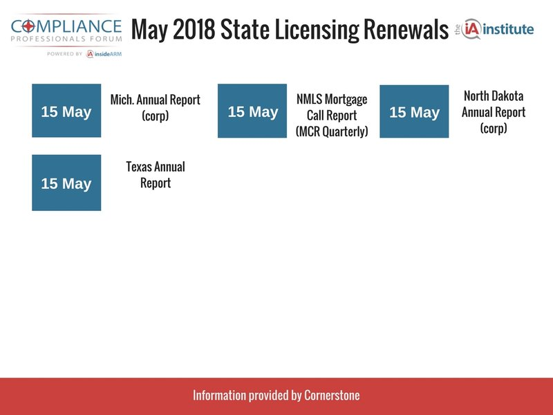 State Licensing Deadlines May 15