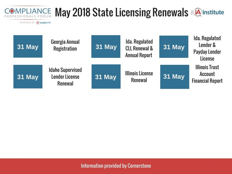 State Licensing Deadlines May 31