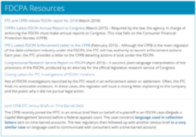 FDCPA Resource Page Preview